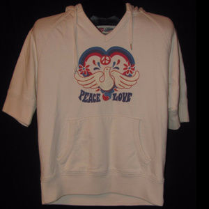 LUCKY BRAND Size S White Dove Peace Hoodie